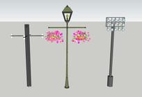 三款景观灯SU模型