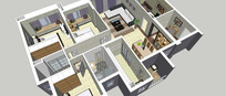 现代大型住宅装修模型