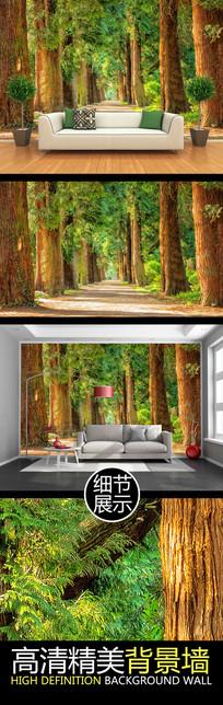 大气森林风景道路油画背景墙