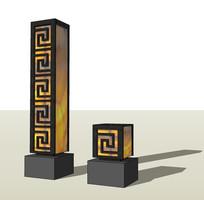 现代中式纹样草坪灯柱模型