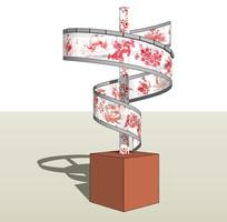 现代中式纹样灯具小品