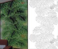 金龟背竹雕刻图案