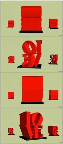 立体浪漫LOVE字体运动变幻