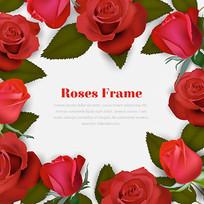 漂亮的红玫瑰花边矢量图