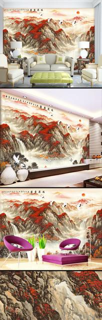 新中式流水生财鸿运当头壁纸背景墙