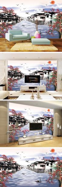 江南水乡水墨风景背景墙