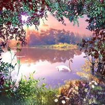 天鹅湖面仙境风景墙画