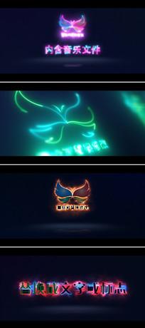 4组震撼大气电流光线logo标志文字特效片头模板