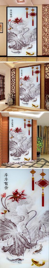 季季有余彩雕荷花鲤鱼玄关背景墙