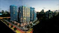 楼盘漫游动画三维城市夜景视频
