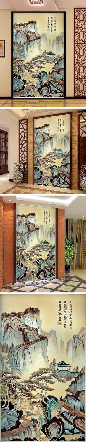 中式水墨画山水人家玄关背景墙