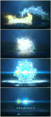 冰火粒子碰撞Logo动画视频