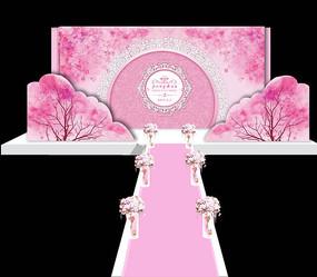 三生三世十里桃花粉色婚礼舞台背景