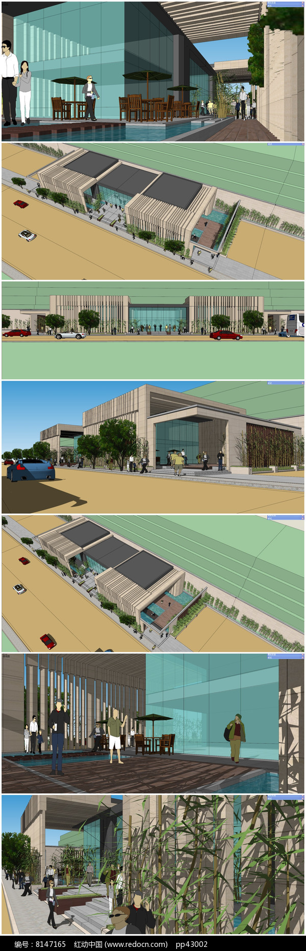 售楼部会所SU模型及室内及周边环境景观模型图片