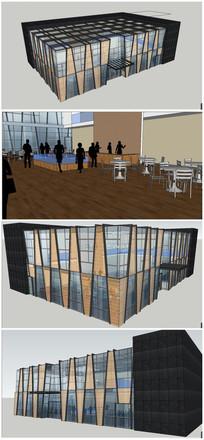 现代风格售楼部建筑及室内整体SU模型
