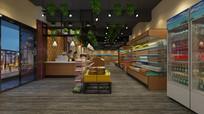 现代小型进口食品超市货架货柜展示柜收银台效果图