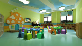 幼儿园班级一教室3DMAX模型下载