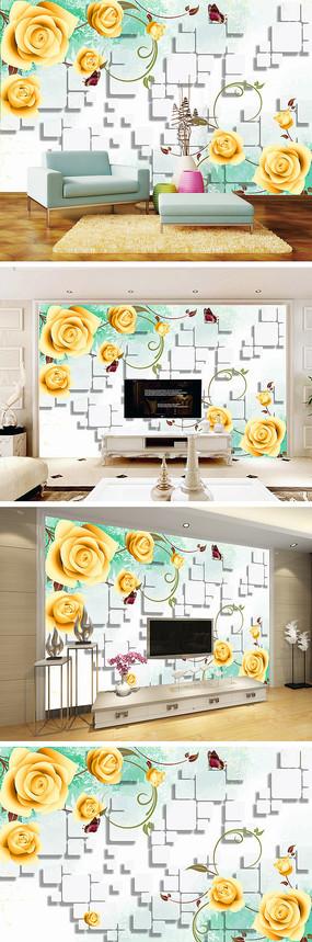 3D立体手绘黄玫瑰电视背景墙