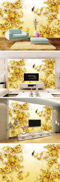 彩雕金色玫瑰鲤鱼电视背景墙