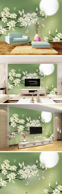 彩雕玉兰花月亮电视背景墙