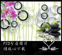 3D圆圈蝴蝶兰鹅卵石背景墙