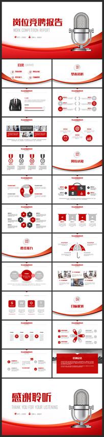 清新红色完整框架岗位竞聘报告