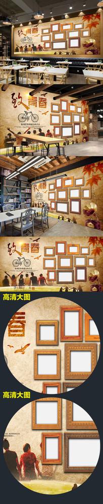 复古工装背景墙致青春餐厅背景墙