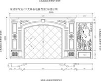 欧式雕花护墙板加整体欧式大理石电视背景CAD设计图纸