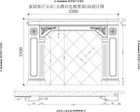 欧式罗马柱子加欧式雕花高端电视背景墙CAD设计图纸