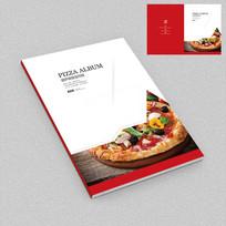 红色简约披萨店招商手册封面设计