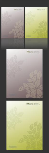 欧式花纹树叶信纸设计