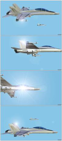 喷气战斗机飞行儿童节动画素材