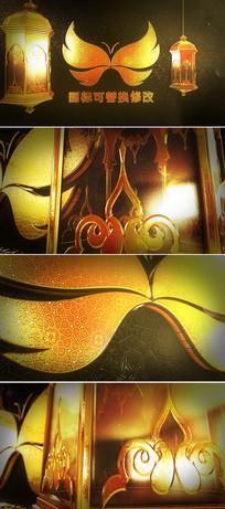 三维立体金色金属logo文字ae片头模板