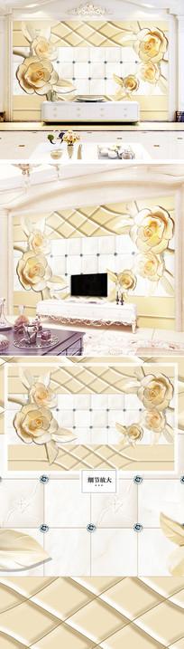 立体欧式电视背景墙花朵