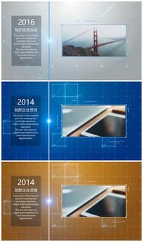 网格背景时间线企业发展历程AE模版