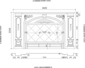 奥特曼米黄欧式雕花欧式电视背景大理石玉石电视背景CAD设计图