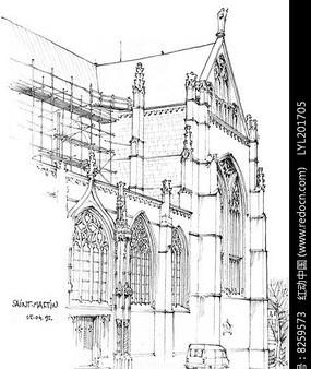 欧式建筑手绘