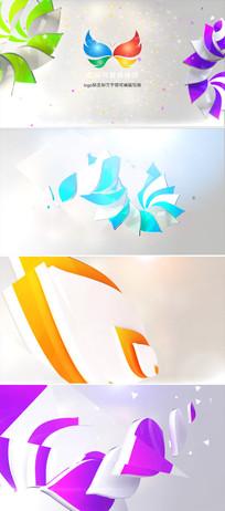三维花瓣动画企业logo标志展示ae模板