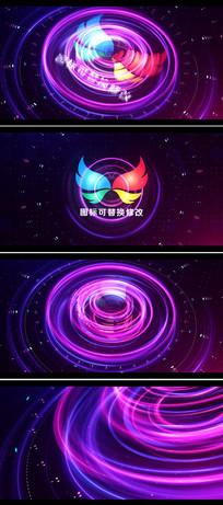 绚丽粒子光圈线条logo标志展示ae模板