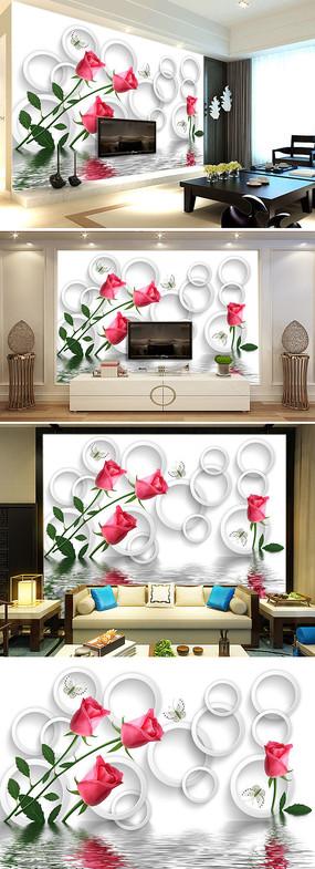 3D立体玫瑰花倒影客厅电视背景墙图片