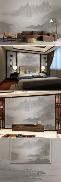 中国风水墨山水风景背景墙