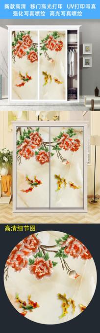 精美时尚衣柜移门柜门打印图案