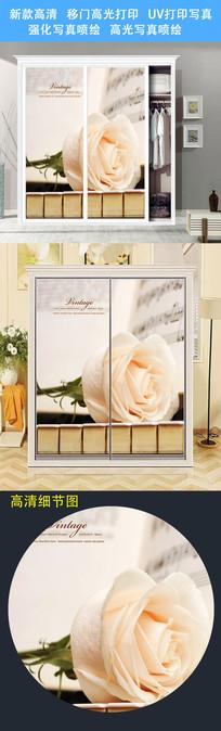 清新花卉衣柜移门UV打印