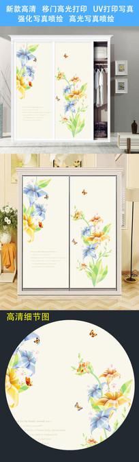 清新简约衣柜移门打印图案