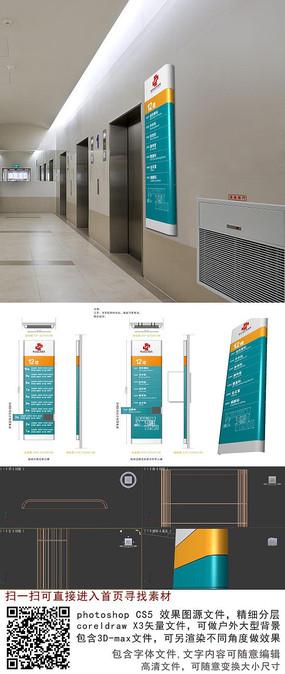 现代医院电梯口楼层科室分布导视牌cdr