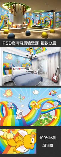 儿童房卡通动物背景墙