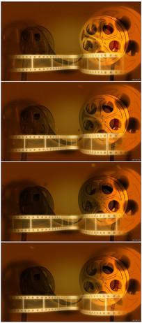复古电影播放卷带胶片旋转视频素材