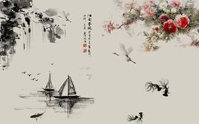 水墨山水牡丹鱼中式背景墙