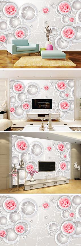 3D立体手绘玫瑰电视背景墙