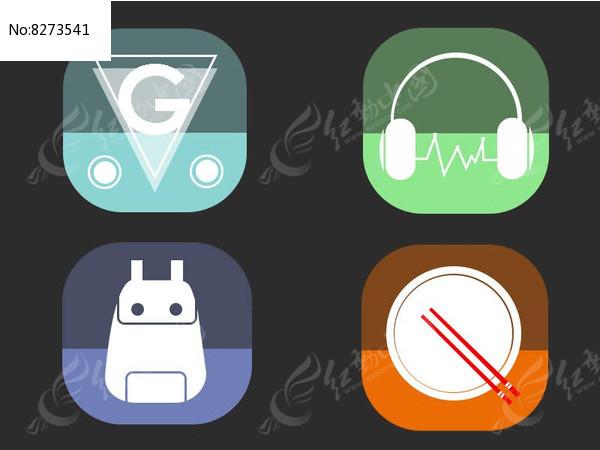 手机扁平化炫酷半透明APP图标图片